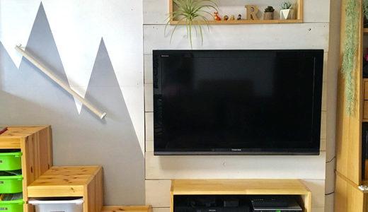 テレビコーナーDIY!超強力マグネット[ネオジウム磁石]で取り外し可能な板壁作り